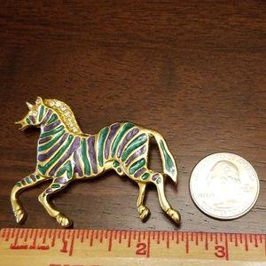Vintage Jewelry - Vtg. Zebra Brooch